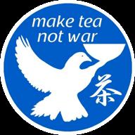 Teehaus make tea not war logo icon